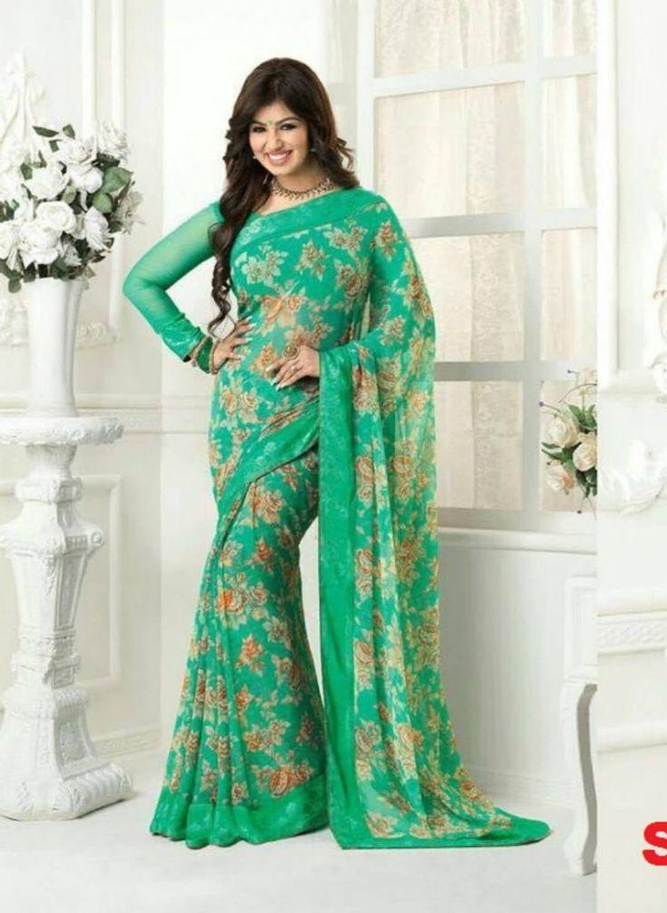 Ayesha Takia Green Georgette Saree- Indiana Lifestyle Online Shopping