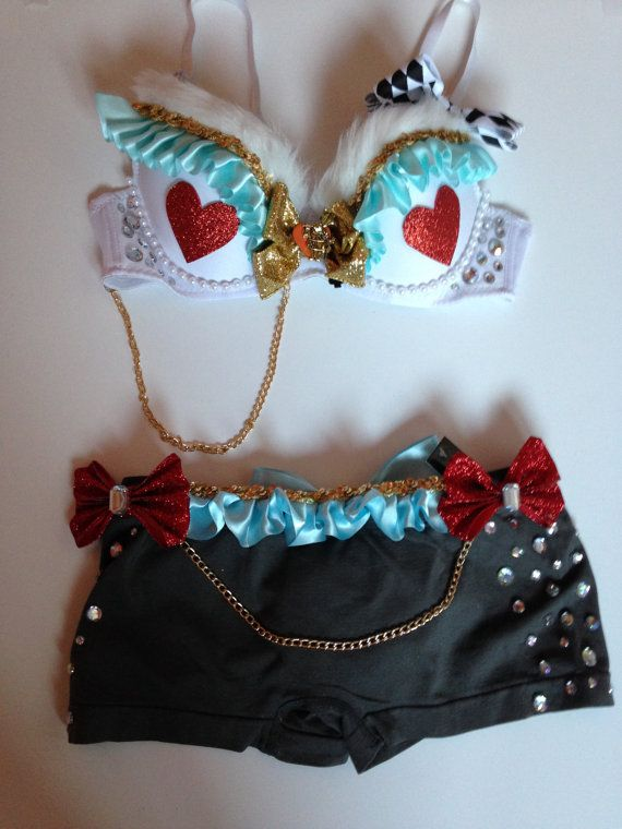 White Rabbit Rave Bra Outfit by RaverLandDesigns on Etsy