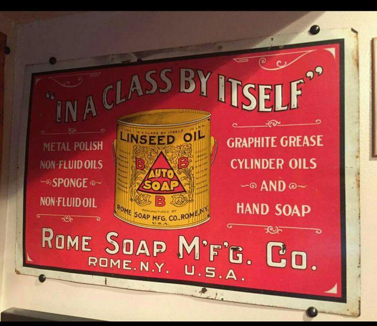 Tin Litho Rome Soap Manufacturing Co. Automobile Soap Sign