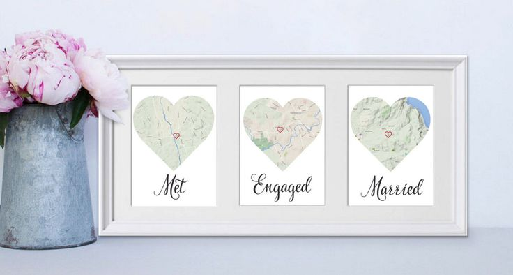 Met, Engaged, Married Personalised framed map love story Engagement / Anniversary / Wedding gift for Couples / gift for couple by Sisterandsistercouk on Etsy https://www.etsy.com/uk/listing/249848020/met-engaged-married-personalised-framed