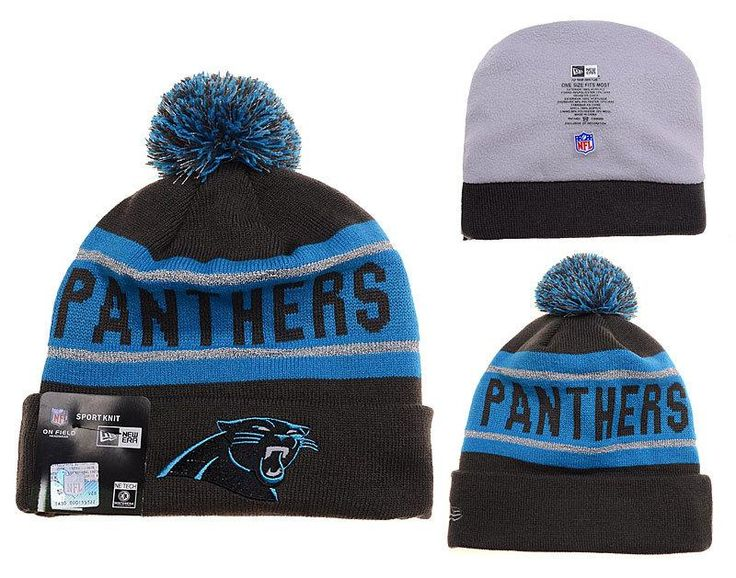 Mens / Womens Carolina Panthers New Era Black Friday 2015 X-Mas Santa NFL Biggest Fan Reflective Knit Beanie Hat With Pom Pom