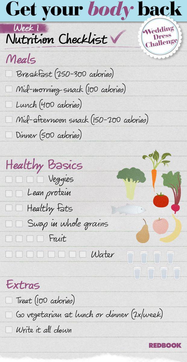 Wedding Dress Challenge Eating Checklist Week 1 - Redbook
