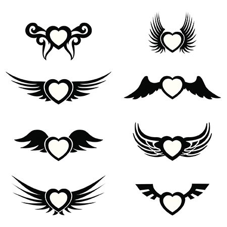 Heart with Wings Black and White Tattoo