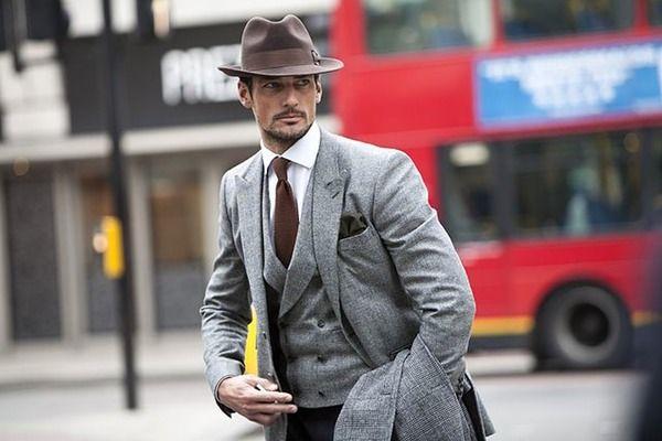 Grå kostym väst rock Brun hatt slips näsduk 18 jan 2013