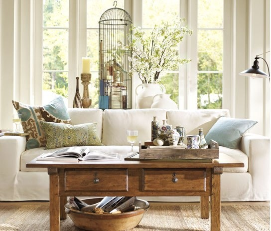 Comfortable Looking Room From Pottery Barn.