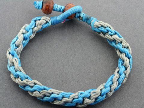 plaited rope bracelet - turquoise/grey