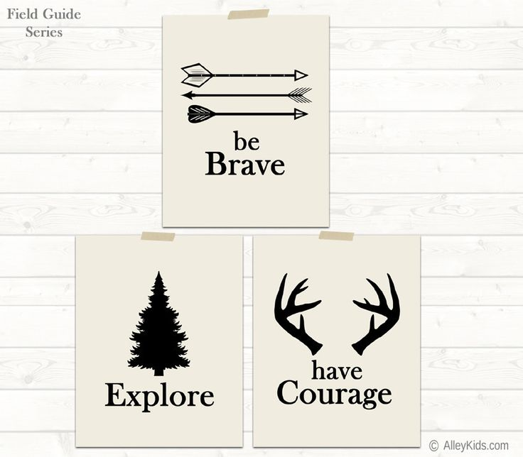 Set of 3 woodland theme nursery art. Be Brave, Explore and Have Courage prints feature arrows, a pine tree and antlers. Perfect for a camping nursery, woodland nursery or rustic nursery. #nurserydecor
