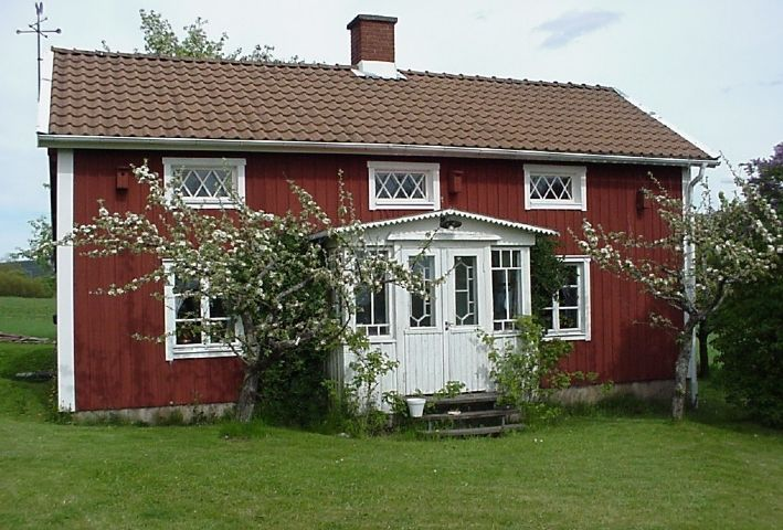 Traditionally red Swedish small house in the countryside