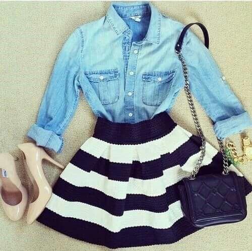 Denim shirt with black & white skirt