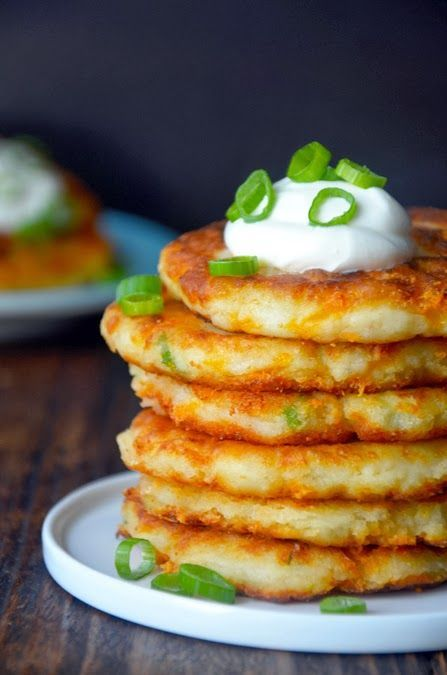 CHEESY MASHED POTATO PANCAKES