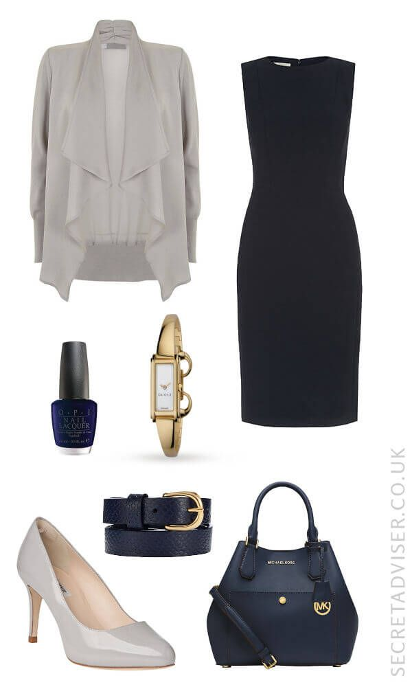 Navy dress with grey and gold accessories outfit idea