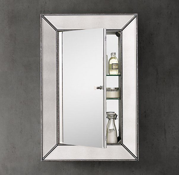 rhu0027s beaded venetian medicine cabinetour medicine cabinet features broad beveled glass embraced by a mirrored wooden frame accented with silverleaf cast