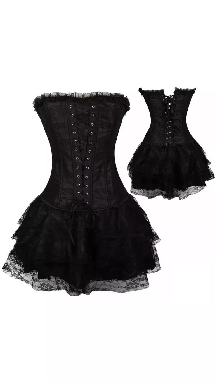 Beautifully made 2 piece corset and skirt. This can be worn as is or layered to create several different costumes: Witch, Vampire, Dark One (Once upon a time TV show), Dark Fairie, Victorian, Pirate,