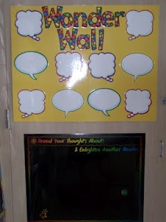 """Wonder Wall""  {Write children's questions inside the speech/thought bubbles... could put their name underneath the bubble.}"