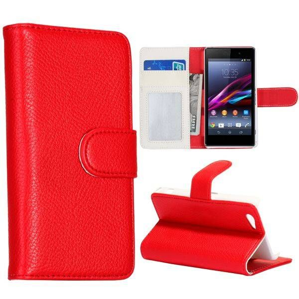 Rood bookcase hoesje voor Sony Xperia Z1 Compact