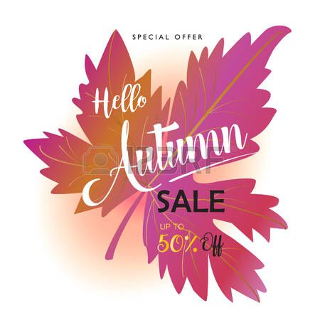 Hello Autumn Sale discount poster Thanksgiving Holiday advertising trendy banner Fall Maple leaf bac Stock Vector