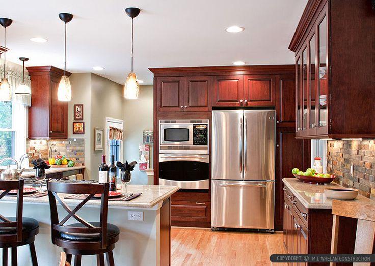 Burgundy kitchen cabinet slate glass backsplash tile for Burgundy kitchen ideas