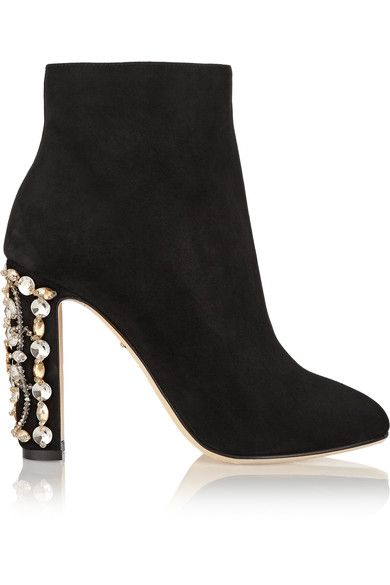Heel measures approximately 105mm/ 4 inches Black suede Zip fastening along side
