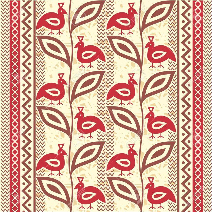 15798632-Ethnic-ornamental-seamless-pattern-with-birds-Stock-Vector-african-motif-pattern.jpg (1300×1296)