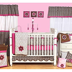 $106 Bacati Damask Pink and Chocolate 10-piece Crib Bedding Set