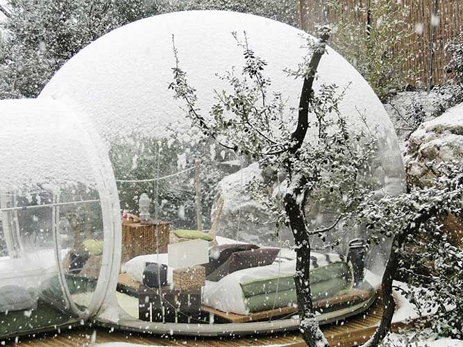 "If I had a big enough garden, I'd love to have one of these transparent bubble tents right in the corner. Add a bit of decking, and you have a whole new ""room"" for your house"