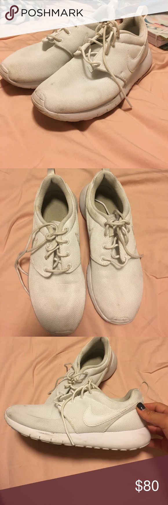 Nike Roshes all white nike roshes, too big for me. worn once for a costume! size 5Y so 6 in women's. Will clean before shipped! Nike Shoes Athletic Shoes