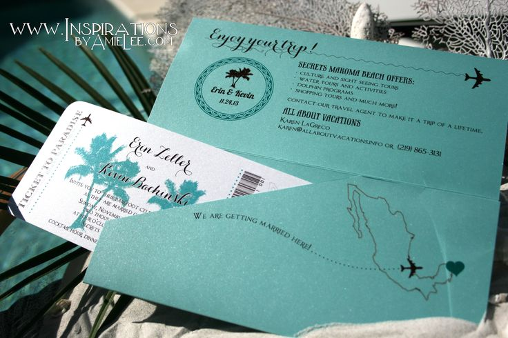 Destination Wedding Invitations Contact Personal Travel to book your next trip and ask about our Honeymoon Registry and Vacation Layaway! www.personaltravelonline.com 1-877-484-2835