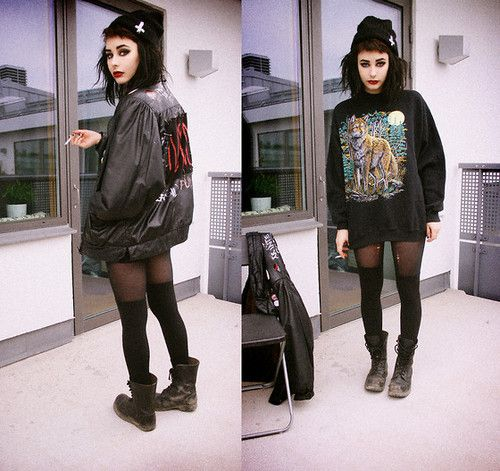 Hipster-Goth, Crust-punk or just hanging out. This cutie can do what she wants.