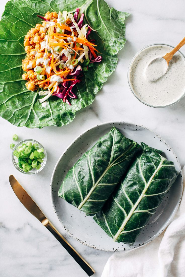 Vegan BBQ Chickpea Collard Wraps with Ranch Dressing // BBQ and veggies? Yes, thank you! Substituting burrito wrap for collard greens makes this dish a super healthy choice for dinner. Not to mention, crunchy! | The Green Loot #vegan #cleaneating #weightloss