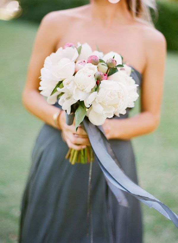 Gray Bridesmaid Dress with a White Peony Bouquet | Jemma Keech Photography | Indigo and Pewter Wedding Palette