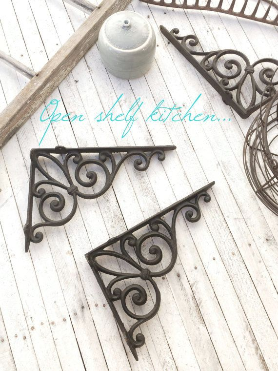 Listing is for (2) brackets  Can be used to support shelving. Shown in hand painted Vintage Black ( color 6 )    DETAILS / large pull  - Sold as a set (2)  - Hardware required  - Black…