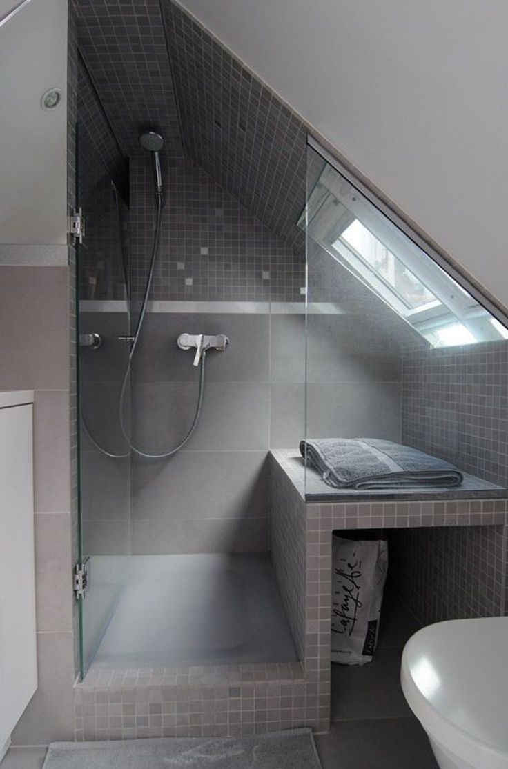 shower under sloped ceiling