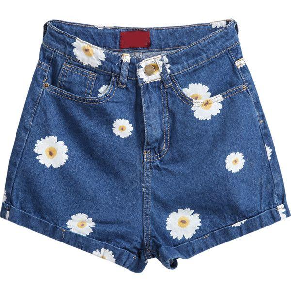 Pockets Daisy Print Denim Shorts ($13) ❤ liked on Polyvore featuring shorts, bottoms, short, pants, blue, short shorts, zipper pocket shorts, floral shorts, denim short shorts and blue shorts