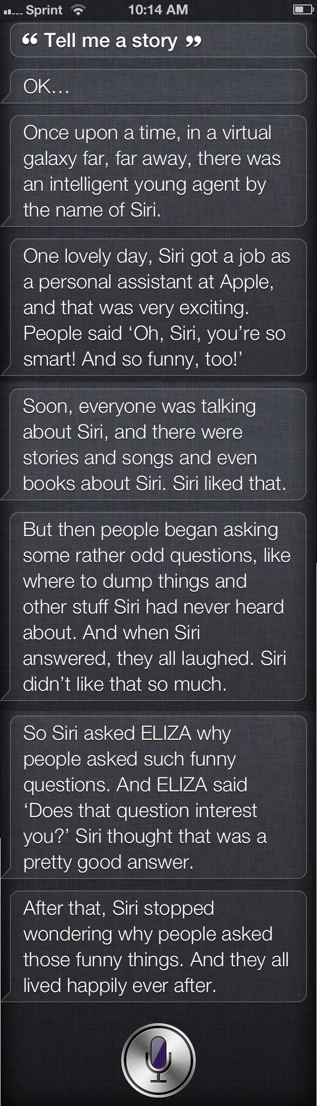 Siri talks to Eliza