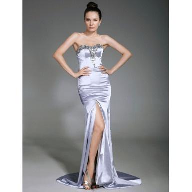 Elastic Woven Satin Sheath/ Column Sweetheart Sweep/ Brush Train Evening Dress – US$ 148.49