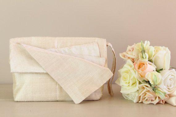 Cream Raw Silk Bridal Clutch Bridal Handbag by SimpleEmpire, $49.25