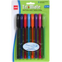 Cello Tri-Mate Ball Point Pens in Assorted Fashion Colors, 8-ct. Packs, dollar tree