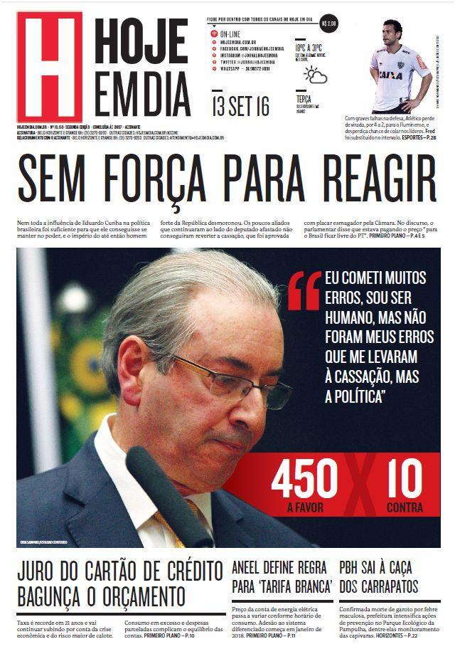 Capa do dia 13/09/2016 #HojeEmDia #Jornal #Notícias #News #Newspaper