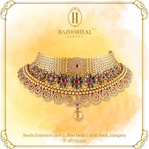 #AGoldenEssence Elevate your traditional look with the exquisite beauty of the Gold Choker encrusted with precious gemstones.   Explore chokers, layered necklaces and more at our South Extension part-2, New Delhi showroom today. #HazoorilalLegacy