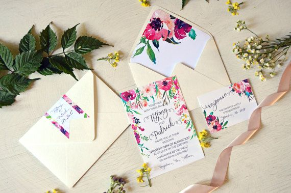 Digital Floral Wedding Invitation Suite, Calligraphy Wedding Invites, Watercolor Wedding Invitations, Tribal Invitations, Feather Invite  💜 DETAILS 💜  This listing is for a digital file sent to you as a high quality PDF for you to download and print at your preferred local print shop. For physical items, please see our other shop https://www.etsy.com/shop/AquarelaStationery You can choose different wording in your preferred language for free. If you need matching cards (...
