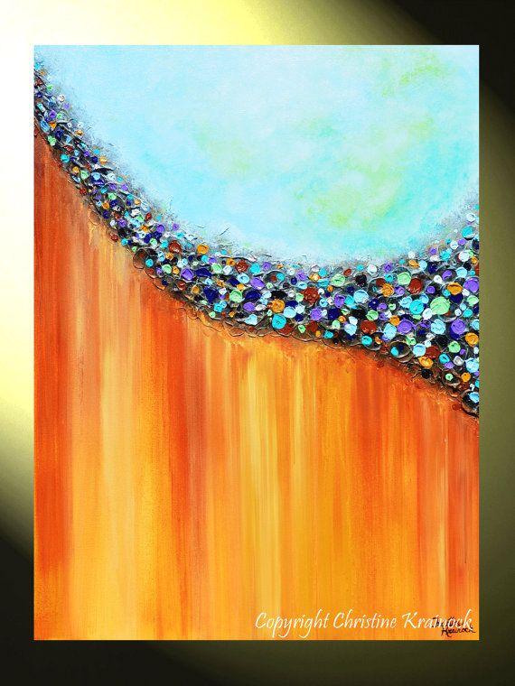 GICLEE PRINT Art Large Abstract Painting Aqua von ChristineKrainock