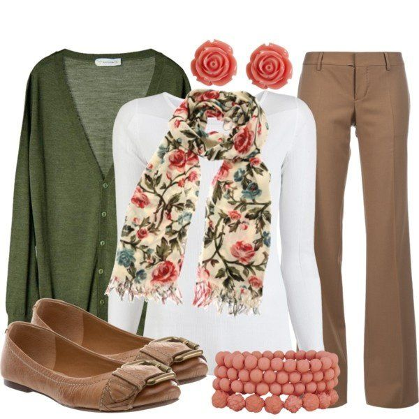 I need to find a cute scarf like this :D Such a cute casual work outfit.