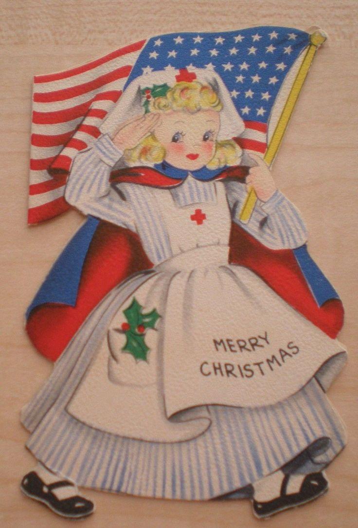 Vintage Hallmark Christmas Greeting Card Die Cut Red Cross Nurse WWII US Flag   eBay