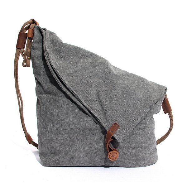 Women Men Canvas Crazy Horse Gray Button Shoulder Bags Cowhide Casual Crossbody Bags