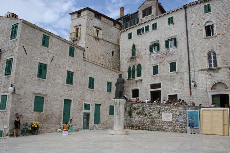 Historic buildings in the old town of Sibenik, Croatia