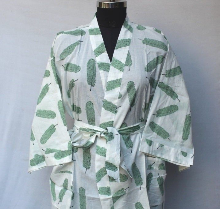 Cotton Kimono Women Wear Body Crossover Indian Robes Bridesmaid Dressing Gown Dressing Gown Hand Patch Work Block Print Cotton Bathrobe