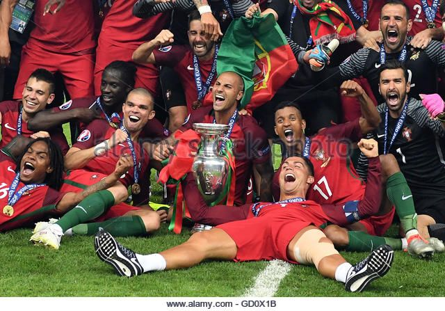Portugal celebrate winning the UEFA EURO 2016 soccer Final against France. (Stock Photo)  Contributor: dpa picture alliance / Alamy www.alamy.com http://www.alamy.com/stock-photo-players-of-portugal-celebrates-after-winning-the-uefa-euro-2016-soccer-111273159.html