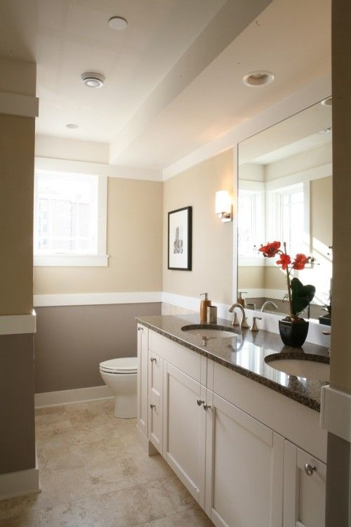 two tone wallsDecor, Wall Colors, Bathroom Design, Guest Bathroom, Bathroom Ideas, Traditional Bathroom, Master Bath, Painting Colors, White Cabinets