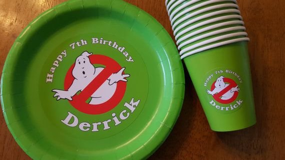 Ghostbusters plates and cups for birthday parties