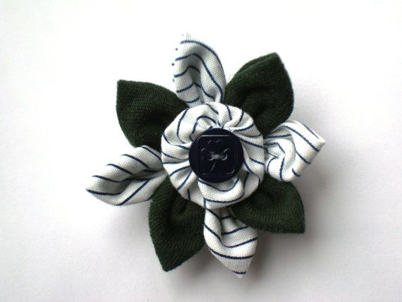 Handmade PATHFINDERS Flower with Navy Blue Logo Girl Guide Button and Vintage GGC Striped Uniform Fabric